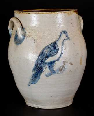 Stoneware Jar with Fine Incised Bird Decoration, probably Connecticut