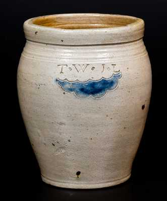 Small T.W. J.L. (South Amboy, NJ) Stoneware Jar with Impressed Decoration