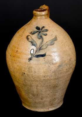 Stoneware Jug w/ Incised Floral Decoration, Manhattan, early 19th century