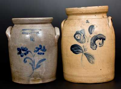 Lot of Two: MACQUOID / New York City Stoneware Jars with Floral Decoration