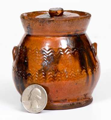 Miniature Redware Lidded Jar w/ Manganese Decoration, possibly Norwalk, CT or Long Island