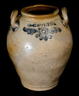 C. CROLIUS / MANHATTAN, WELLS / NEW-YORK Elaborate Stoneware Eagle Jar