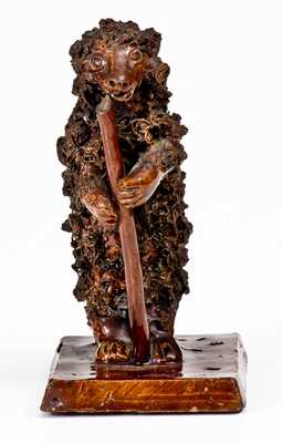 Extremely Rare Redware Bear Figure, attrib. Anthony Weis Bacher
