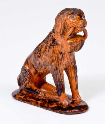 Redware Figure of a Dog, Pennsylvania origin, possibly Chester County, c1850-80