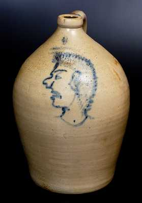 Extremely Rare F. H. COWDEN / HARRISBURG, PA Stoneware Jug w/ Indian Head