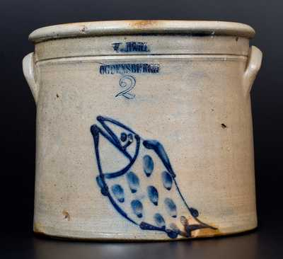 Fine 2 Gal. W. HART / OGDENSBURGH Stoneware Jar with Fish Decoration