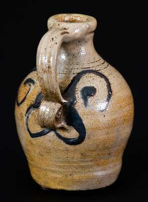 Extremely Rare and Important Adam States (Manhattan) circa 1745 Miniature Stoneware Jug