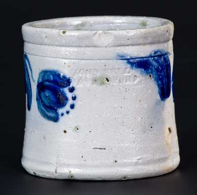 Exceptional Miniature JOHN BELL / WAYNESBORO Decorated Stoneware Jar Dated 1867