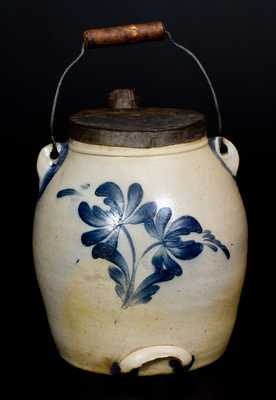 COWDEN & WILCOX / HARRISBURG, PA Stoneware Batter Pail with Floral Decoration