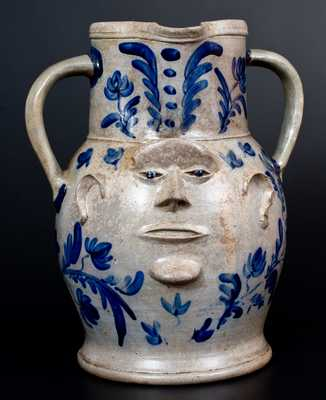 Extremely Important Monumental Stoneware Two-Sided Face Pitcher att. Huntingdon County, PA