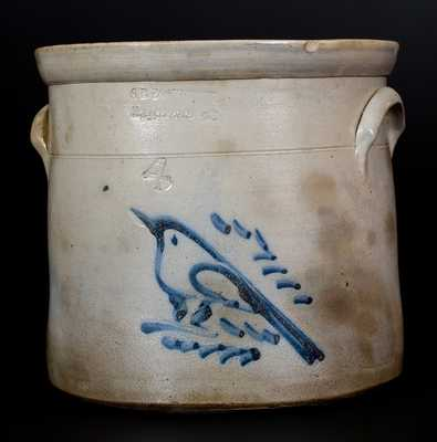S. B. BOSWORTH / HARTFORD, CT. Stoneware Crock w/ Bird Decoration