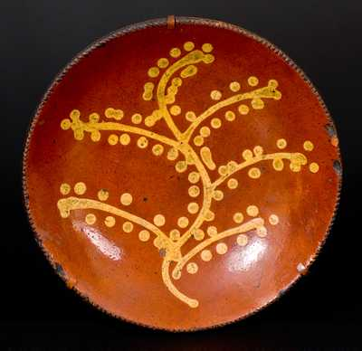 Redware Charger with Yellow Slip Tree-of-Life Decoration