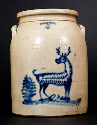 Rare WHITES UTICA, NY Stoneware Jar with Deer and Tree Decoration