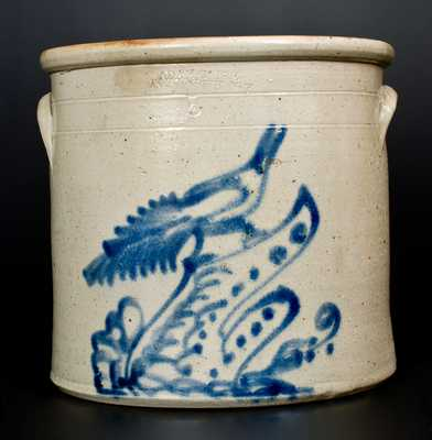 ADAM CAIRE / PO KEEPSIE, NY Stoneware Crock with Elaborate Bird on Stump Decoration