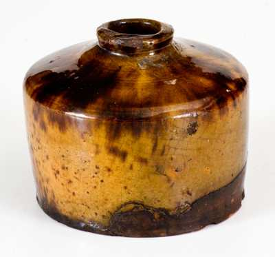 Rare and Important Bristol County, Massachusetts Redware Inkwell w/ Vibrant Glaze