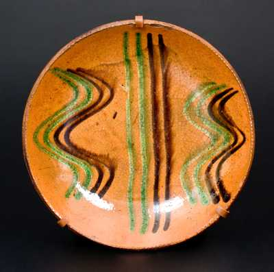 Dryville, PA Redware Plate w/ Green and Brown Slip Line Decoration