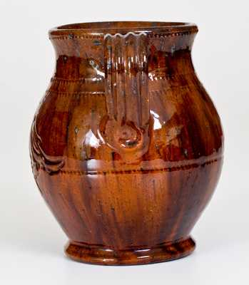 Jacob Medinger Redware Vase with Incised Bird Decoration