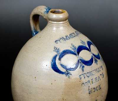 Exceptional 3 Gal. Thomas Commeraw Stoneware Jug, New York City, circa 1810