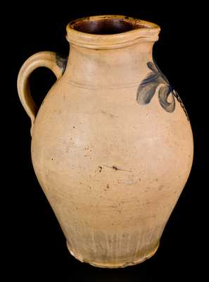 Very Rare Stoneware Pitcher att. William Nichols, Poughkeepsie, NY, circa 1823