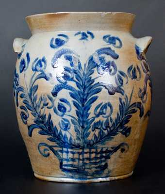 Exceptional 6 Gal. Baltimore Stoneware Jar w/ Profuse Floral Basket Decoration