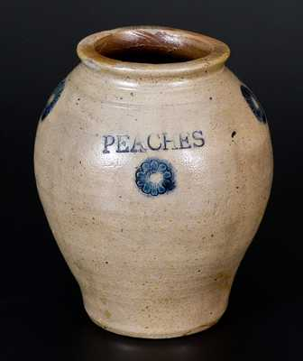 Very Fine Stoneware PEACHES Jar w/ Impressed Design, Crolius, New York City