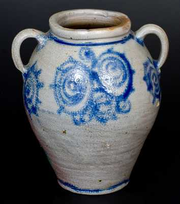 Outstanding 18th Century Stoneware Jar w/ Profuse Decoration, att. Kemple Pottery, Ringoes, NJ