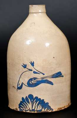2 Gal. Stoneware Jug w/ Dead Bird Decoration att. Fulper Bros., Flemington, NJ