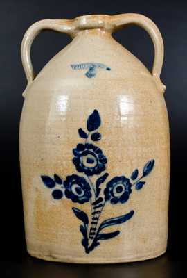 5 Gal. WHITES UTICA Double-Handled Stoneware Jug w/ Floral Decoration