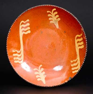 Slip-Decorated PA Redware Plate, probably Philadelphia