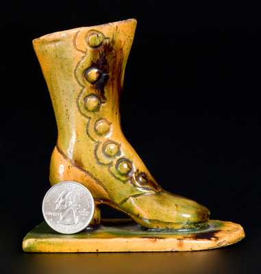 Rare Glazed Redware Sculpture of a Boot, att. George Wagner, Carbon County, PA