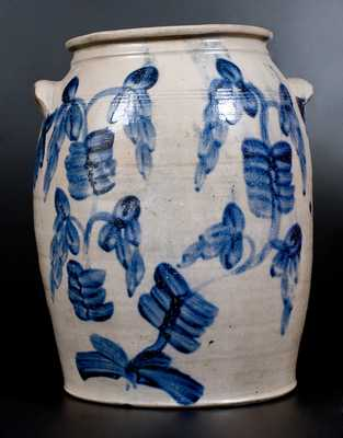 Four-Gallon Baltimore Stoneware Jar w/ Profuse Cobalt Floral Decoration