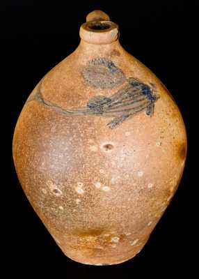 Outstanding J. DUNTZE / NEW-HAVEN Stoneware Jug w/ Incised Fish Decoration