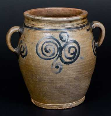18th Century Stoneware Jar with Watchspring Decoration, NY or NJ