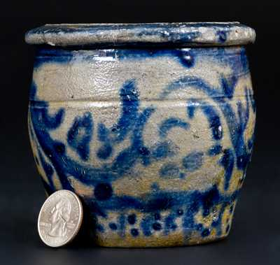 Very Fine Miniature Western PA Stoneware Cream w/ Bold and Profuse Cobalt Decoration