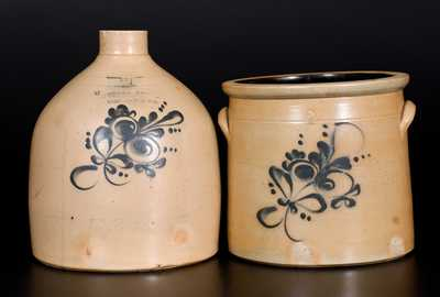 Lot of Two: 2 Gal. FULPER BROS. / FLEMINGTON, NJ Stoneware Jug and 2 Gal. Crock att. Fulper