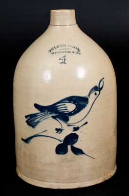 4 Gal. FULPER BROS. / FLEMINGTON, N.J. Stoneware Jug with Bird Decoration