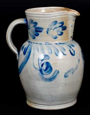 1 1/2 Gal. Southeastern PA Stoneware Pitcher with Floral Decoration