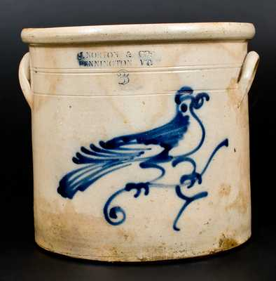 3 Gal. J. NORTON & CO. / BENNINGTON, VT Stoneware Crock w/ Bird Decoration