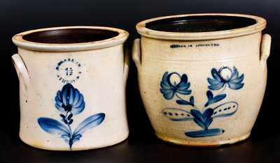 Lot of Two: N. CLARK JR. / ATHENS, NY Stoneware Jars with Floral Decoration