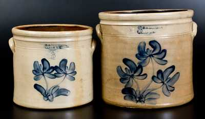 Lot of Two: E. A. MONTELL / OLEAN, NY Stoneware Crocks with Floral Decoration