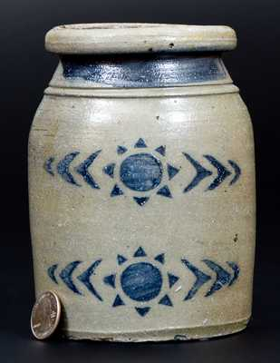 6-Inch Greensboro, PA Stoneware Canning Jar with Stenciled Sun Decoration