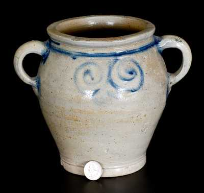 Very Fine Small-Sized Stoneware Jar with Watchspring Decoration, Manhattan or NJ, 18th century