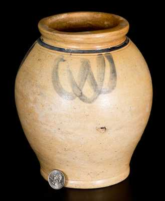 Small-Sized Ovoid Stoneware Jar with Brushed Decoration, Manhattan or New Jersey, 18th century