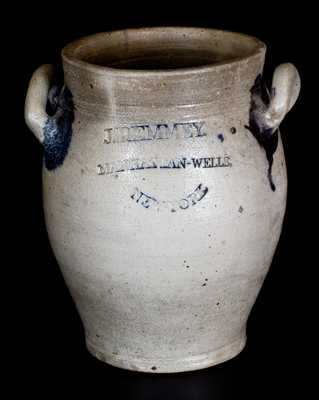 J. REMMEY / MANHATTAN-WELLS / NEW YORK Stoneware Jar w/ Elaborate Incised Decoration