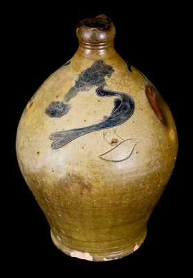 Unusual 1 Gal. Stoneware Jug with Incised Bird Decoration, Albany, NY Origin