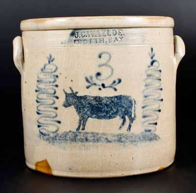 Unusual J. C. WAELDE / NORTH BAY Crock with Stenciled Cow Decoration