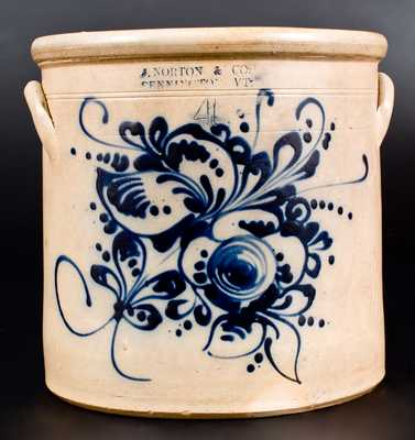 4 Gal. J. NORTON & CO. / BENNINGTON, VT Stoneware Crock with Slip-Trailed Floral Decoration