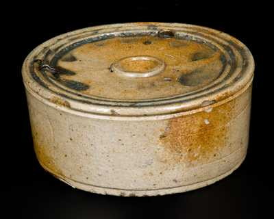 Decorated Stoneware Inkwell, attrib. Nathan Clark, Athens, New York, c1830