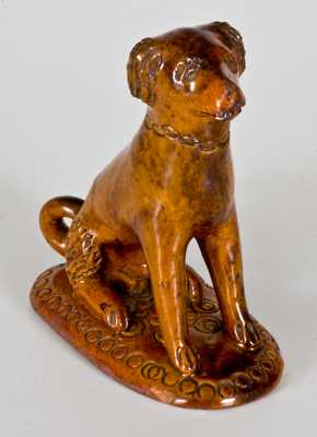 Glazed Redware Figure of a Dog, Pennsylvania origin, circa 1850-1880