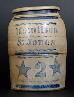 2 Gal. Hamilton & Jones (Greensboro, PA) Stoneware Jar with Stenciled Stars